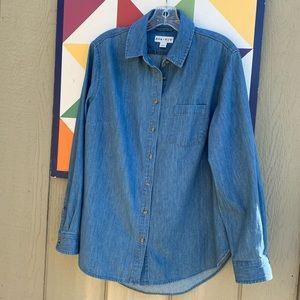 NWOT Ava & Viv blue denim shirt.  Size X